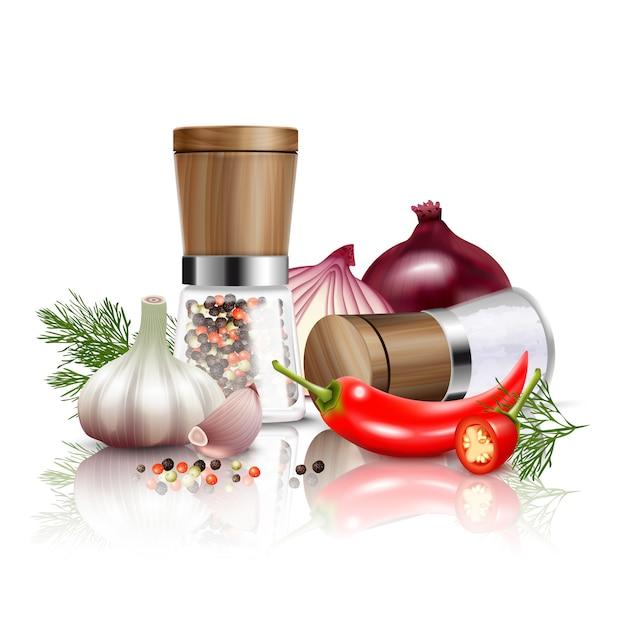 De gekleurde en realistische samenstelling van kruidengroenten met verse groenten en smaakstoffen aan schotels vectorillustratie Gratis Vector