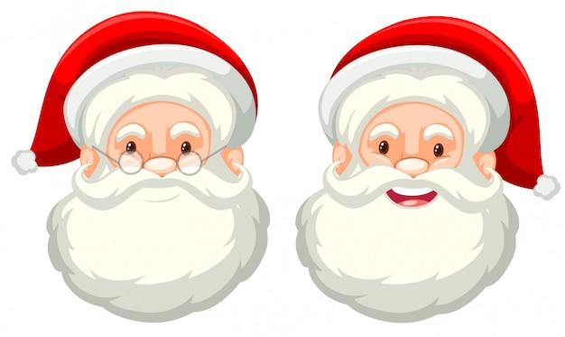 De gelaatsuitdrukking van de kerstman op witte achtergrond Gratis Vector