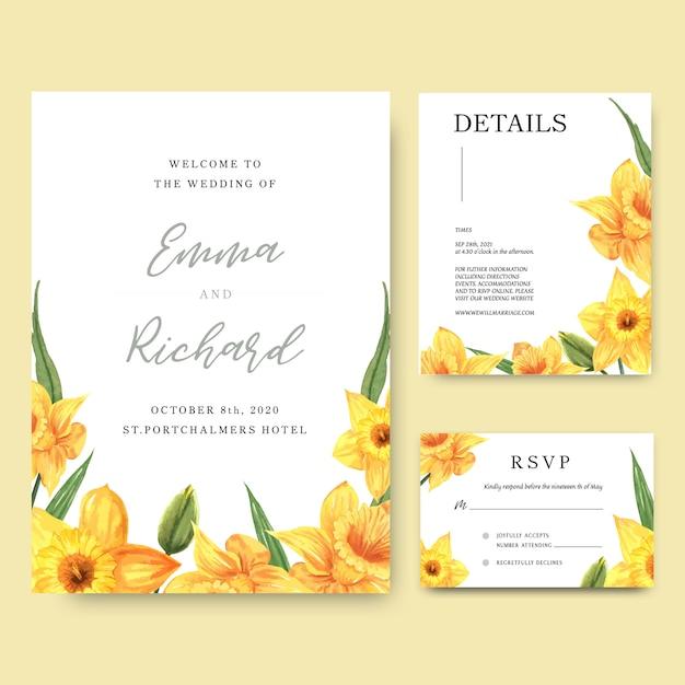 De gele narcis bloeit de kaart van de waterverfboekettenuitnodiging, sparen de datum, de kaarten van de huwelijksuitnodiging. Gratis Vector