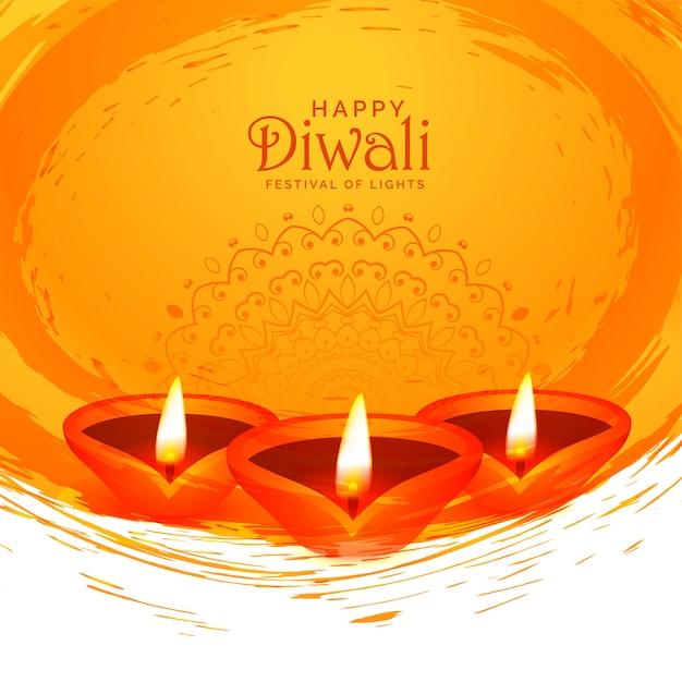 De gelukkige achtergrond van diwaliwaterverf abstracte diya Gratis Vector