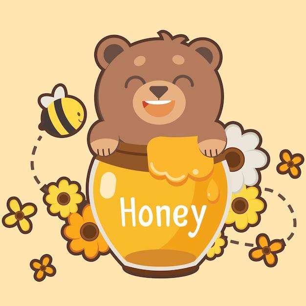 De gelukkige bruine teddybeer gelukkig met honing en heeft wat bloem en bij. Premium Vector