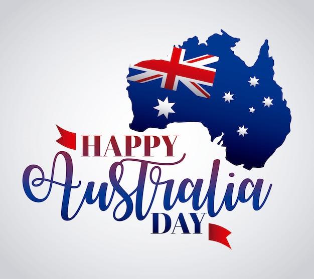 De gelukkige dag van australië met vlag op kaart Gratis Vector