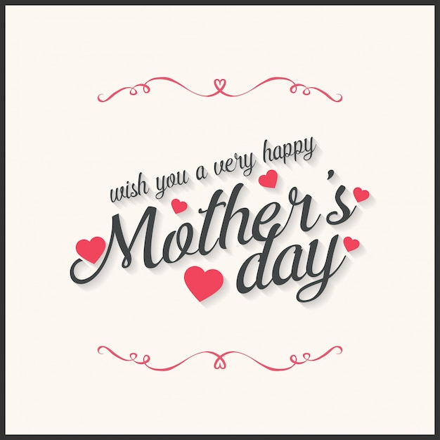 De gelukkige Dag van letters Handgemaakte kalligrafie vector illustratie dagkaart van moeders Gratis Vector