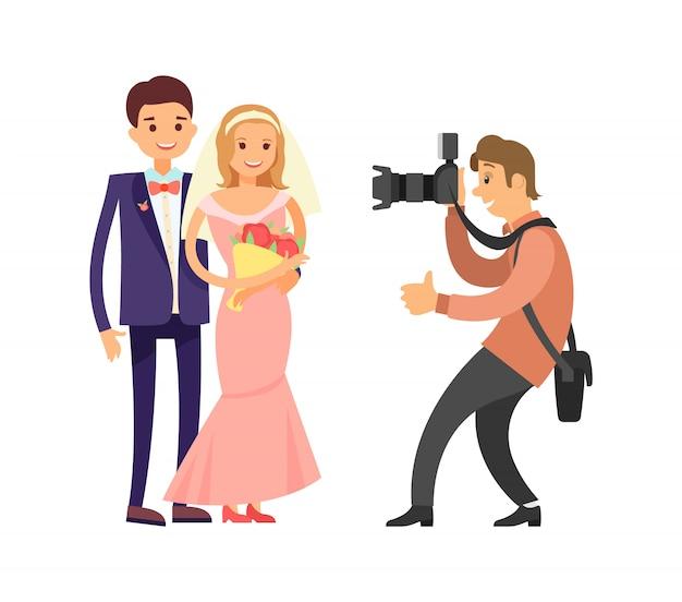 De gelukkige foto van de bruid van de bruid van het huwelijk van het paar Premium Vector