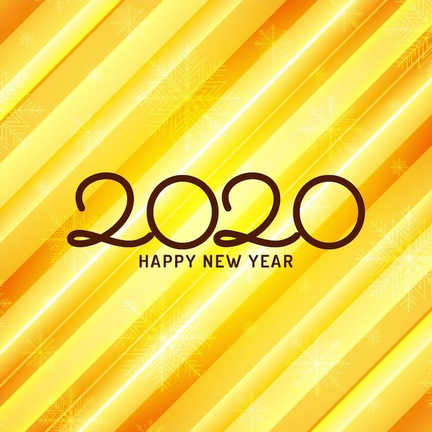 De gelukkige gele achtergrond van de nieuwjaar 2020-viering Gratis Vector