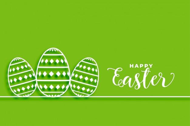 De gelukkige groene achtergrond van pasen met eierenontwerp Gratis Vector