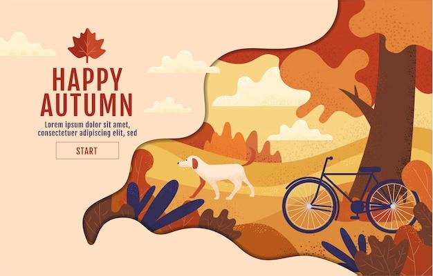 De gelukkige herfst, kalligrafie, dankzegging, illustratie Premium Vector