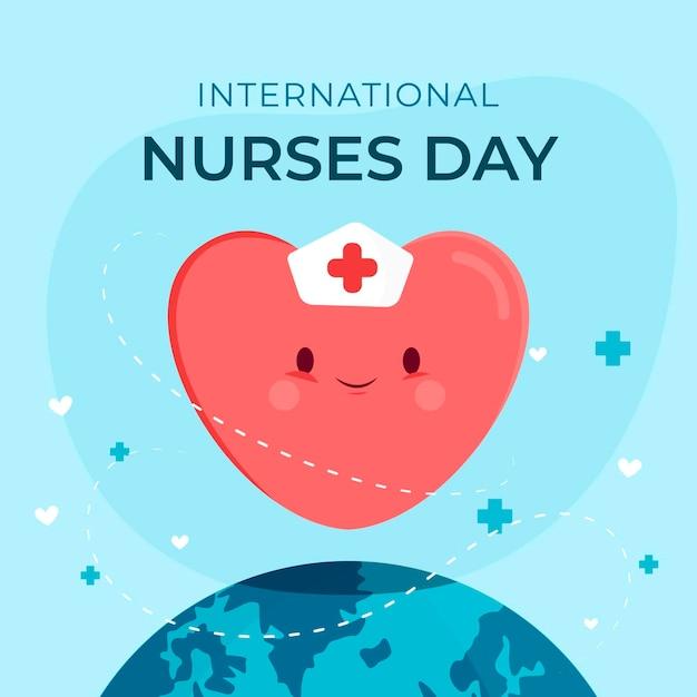 De gelukkige internationale verpleegstersdag van de hartvorm Gratis Vector