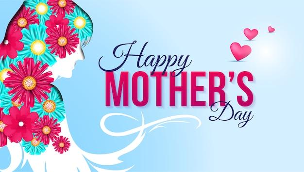 De gelukkige kaart van de moederdaggroet met bloemen en harten Premium Vector