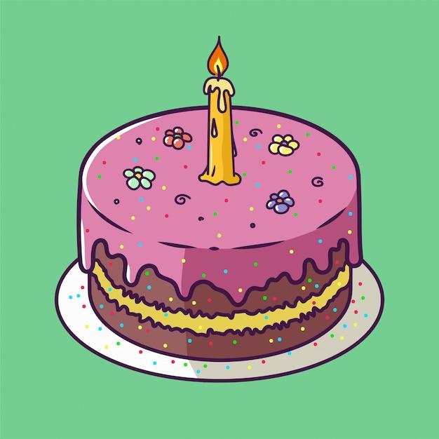 De gelukkige kaart van het verjaardagsverjaardag met cupcake en één kaars in heldere ontwerpstijl Premium Vector