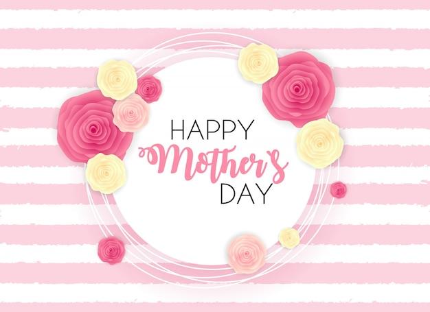 De gelukkige leuke achtergrond van de moeder` s dag met bloemen. Premium Vector