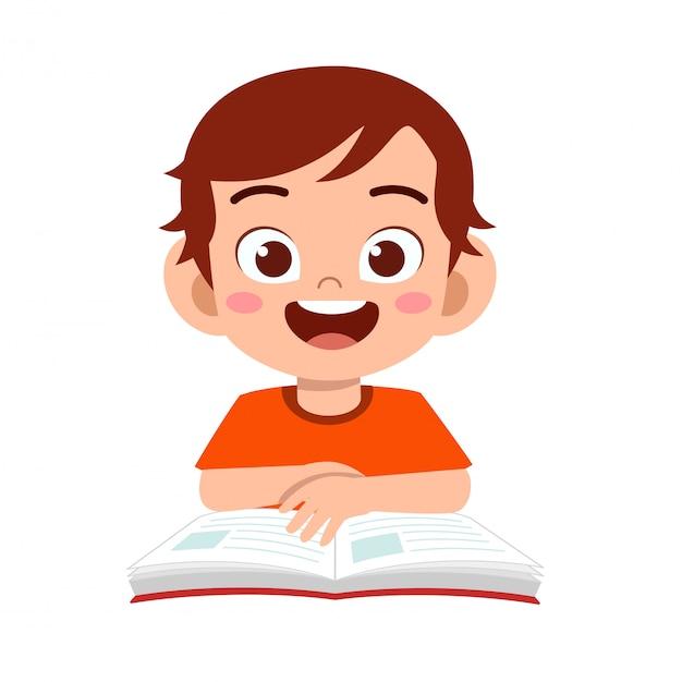 De gelukkige leuke studie van de jong geitjejongen met glimlach Premium Vector