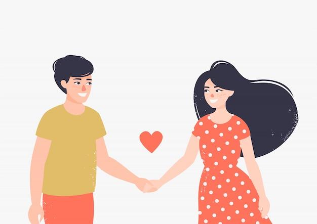 De gelukkige man en de vrouw in liefde houden elkaars handen Premium Vector
