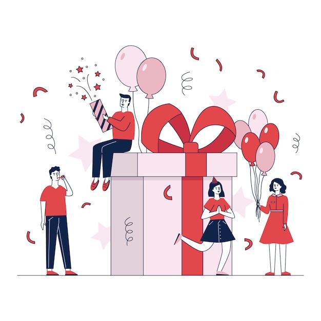 De gelukkige mensen die giften maken en stelt vectorillustratie voor Gratis Vector