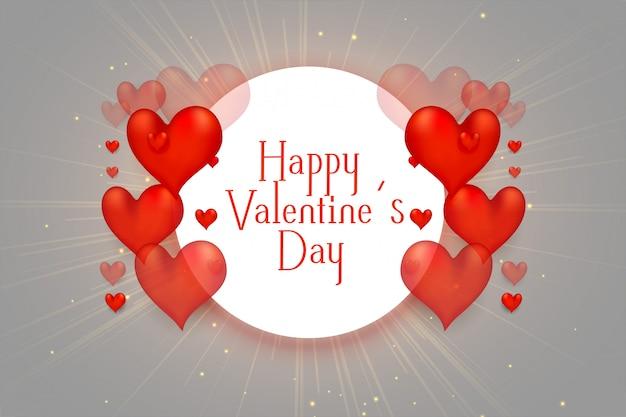 De gelukkige mooie achtergrond van de valentijnskaartendag 3d harten Gratis Vector