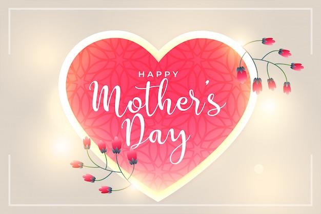 De gelukkige mooie harten van de moedersdag en bloemachtergrond Gratis Vector