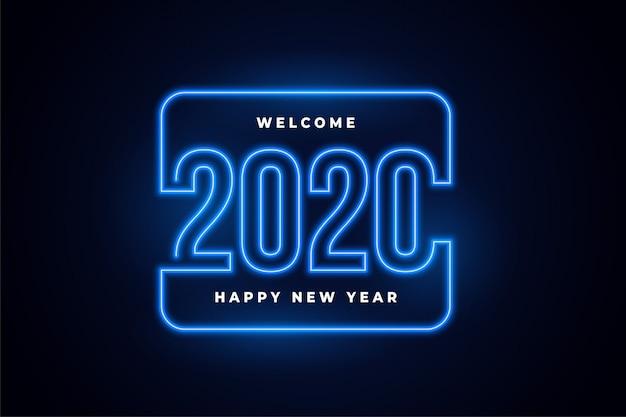 De gelukkige nieuwe gloeiende achtergrond van jaarneonlichten Gratis Vector