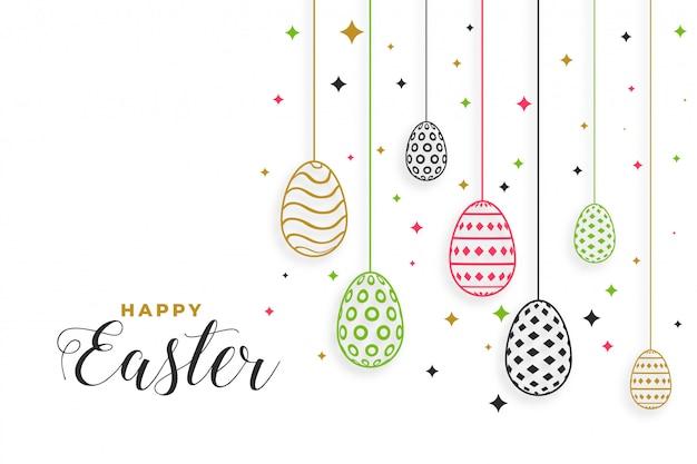 De gelukkige pasen-achtergrond van het dagfestival met eierendecoratie Gratis Vector