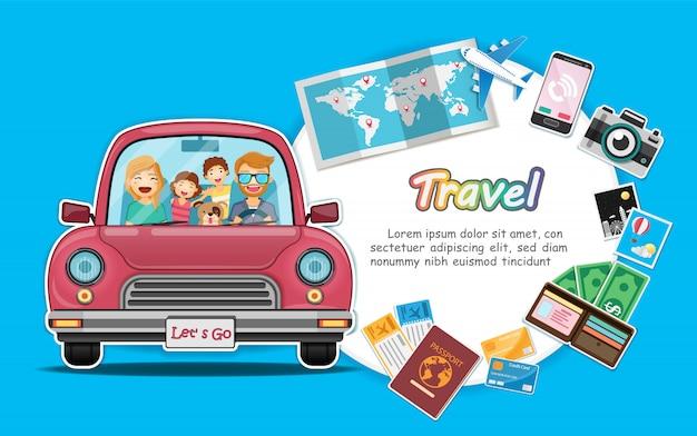 De gelukkige reiziger en de hond op rode boomstamauto met controle in punt reizen rond de wereld. Premium Vector