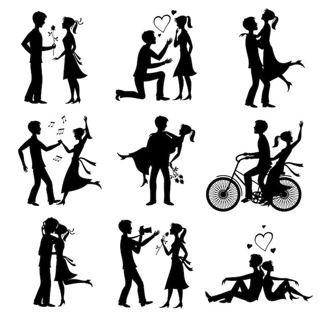 De gelukkige verliefde paren huwden enkel bruid en bruidegom zwarte silhouetten Premium Vector