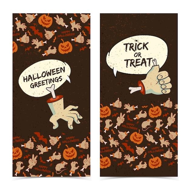 De gelukkige verticale banners van halloween met toespraakwolken snijden zombiewapengebaren Gratis Vector