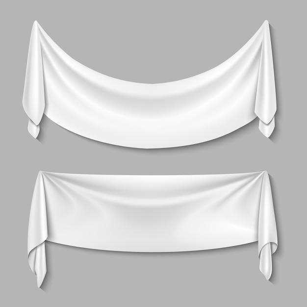 De gerimpelde textiel drapeert stoffen lege witte geplaatste banners. wit blad voor reclame Premium Vector