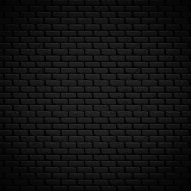 De geweven vectorillustratie van de achtergrond realistische donkere metselenmuur Premium Vector
