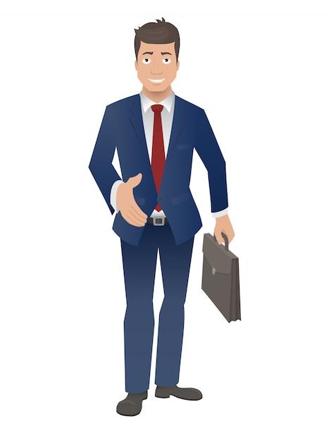 De glimlachende zakenman houdt zijn hand voor een handdruk stand. Premium Vector
