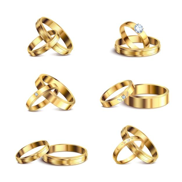 De gouden trouwringen koppelen reeks 6 realistische geïsoleerde juwelen van het reeksen nobele metaal tegen witte illustratie als achtergrond Gratis Vector