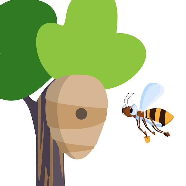 De grappige vectorbij draagt emmer honing in bijenkorf die op boom in bosweide hangt Premium Vector