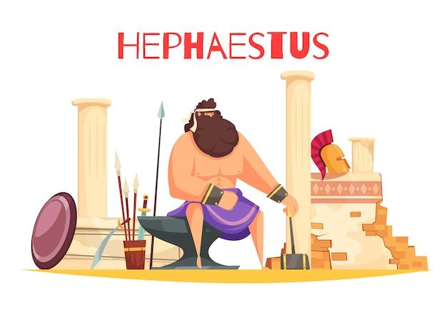 De griekse samenstelling van het godenbeeldverhaal met krachtig beeldje van hephaestuszitting op aambeeld en holdingshamer vlakke illustratie Gratis Vector