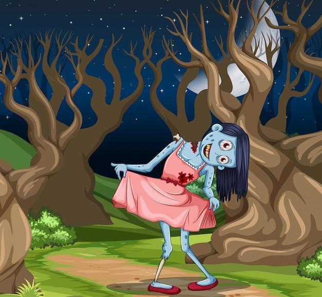 De griezelige scène van het zombiemeisje Gratis Vector