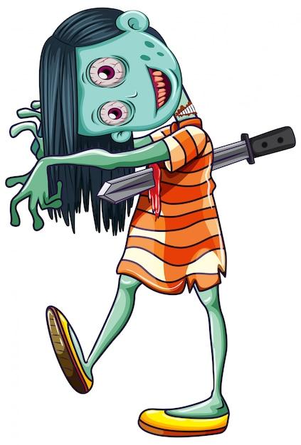 De griezelige witte achtergrond van het zombiemeisje Premium Vector