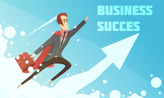 De groeiposter van het bedrijfssucces symbolische beeldverhaal met glimlachende zakenlieden die op stijgende grafische pijlachtergrond beklimmen Gratis Vector