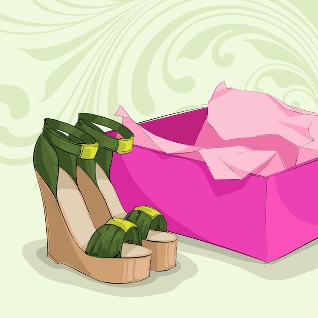 De groene sandals van de moderne vrouw Gratis Vector