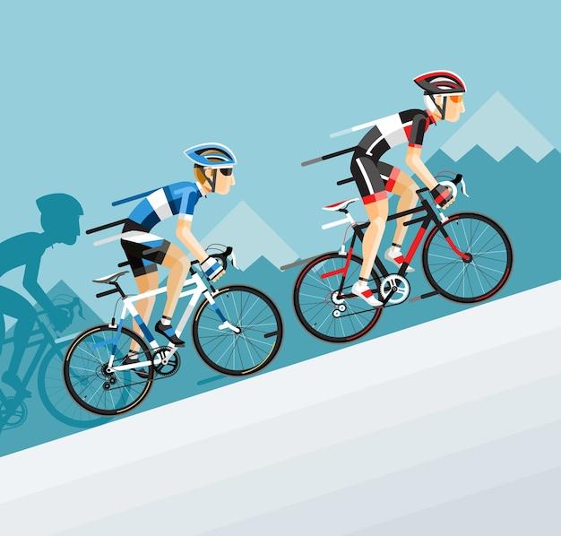 De groep fietsers man in wielrennen op de weg gaat naar de berg Premium Vector