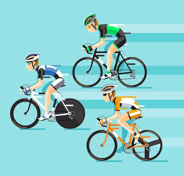 De groep fietsers man in wielrennen op de weg Premium Vector