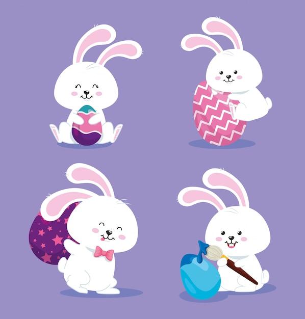 De groep konijnen met eieren verfraaide vectorillustratieontwerp Premium Vector