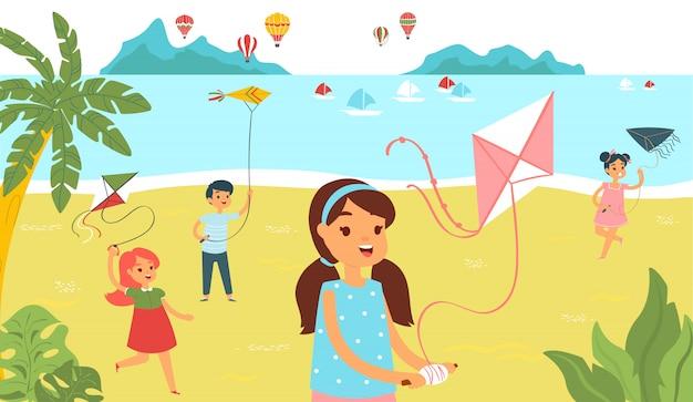 De groepskinderen die strand met vlieger in werking stellen, besteden vrolijk de tijd van het karakterjonge geitje beeldverhaalillustratie. het vrouwelijke mannelijke kindpret ontspant tropisch strand. Premium Vector