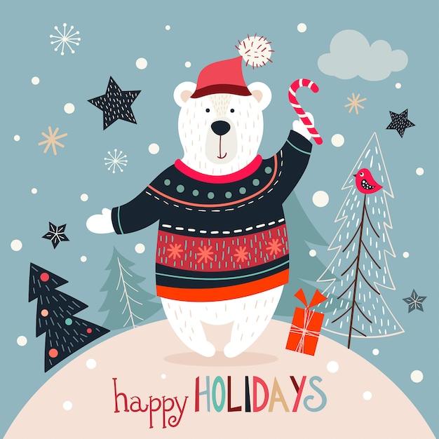 De groetkaart van kerstmis met witte beer op een de winterachtergrond Premium Vector