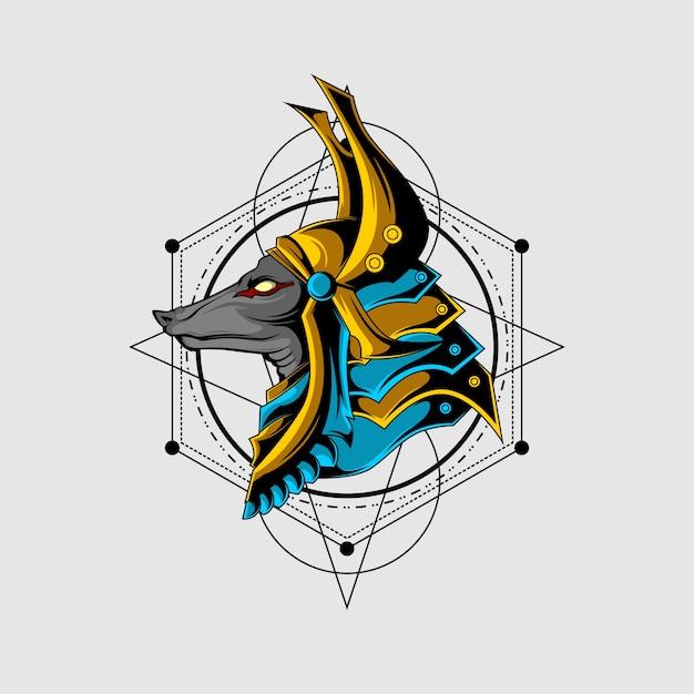 De grote heilige geometrie van anubis Premium Vector