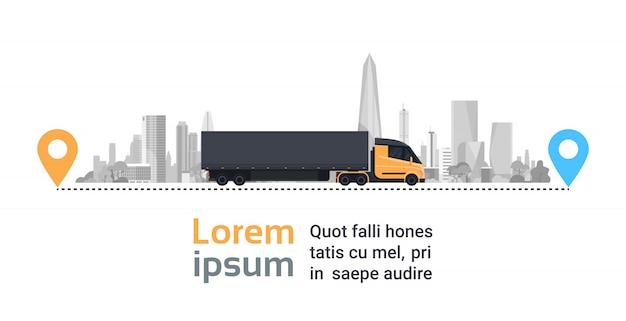 De grote vrachtwagen over silhouetstad op levering leidt het snelle concept van het logistiekvervoer Premium Vector