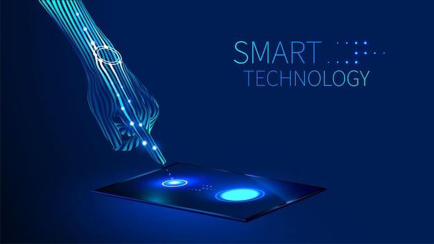De hand drukt de vinger op het aanraakscherm op de tablet of smartphone Premium Vector