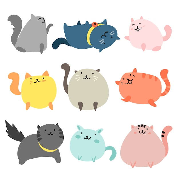 De hand getekende katten collectie Gratis Vector