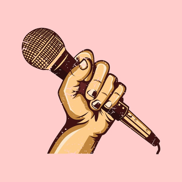 De hand met de karaoke-microfoon Premium Vector
