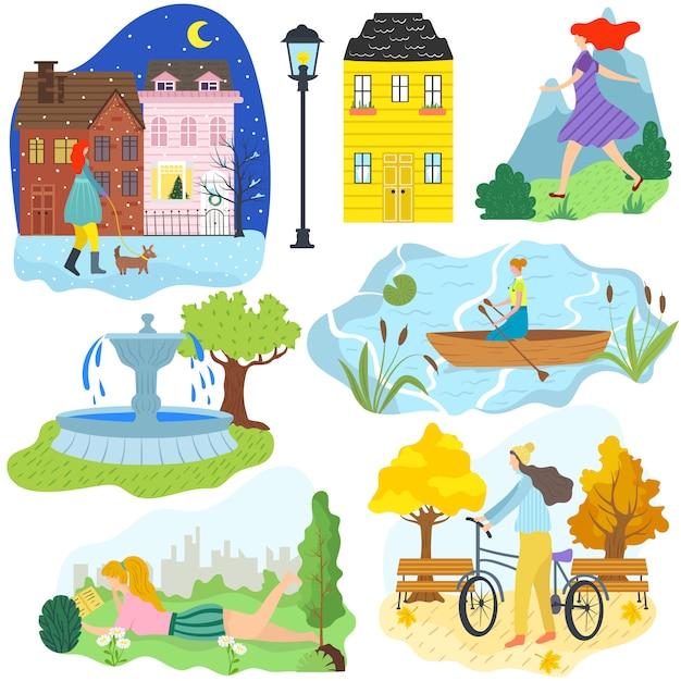 De hand trekt de verschillende seizoenen en het weer van de meisjes openluchtactiviteit, de levensstijlillustratie van het vrouwenbeeldverhaal. zomer bergen, fietsen in herfst park, hond wandelen in winter stad Premium Vector