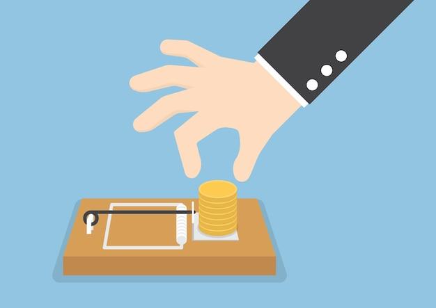 De hand van de zakenman probeert om geld van muizeval te plukken Premium Vector
