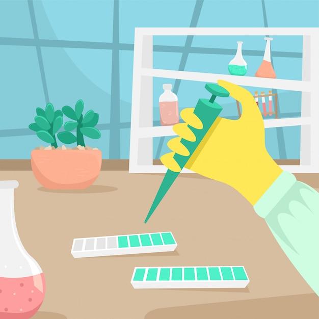 De hand van een chemicus of bioloog in een rubberen handschoen doet onderzoek. virale ziekte. epidemie. chemicus, onderzoek, vaccin, uitvinding Premium Vector