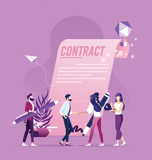 De handdruk van de zakenmanvrouw na concept van de contract het succesvolle transactie Premium Vector