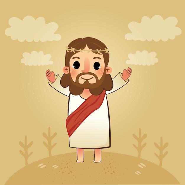 De heer jezus van redder Premium Vector